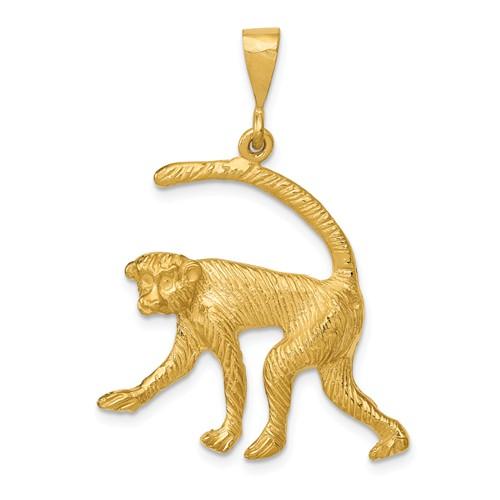 14k Yellow Gold Monkey Pendant with Diamond-cut Finish 1in