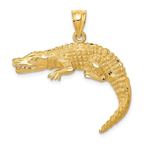 14k Yellow Gold Diamond-cut Alligator Pendant