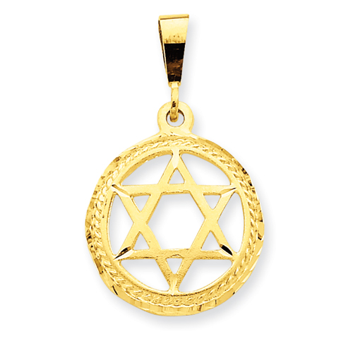 14k Yellow Gold Round Diamond-cut Star Of David Charm 3/4in