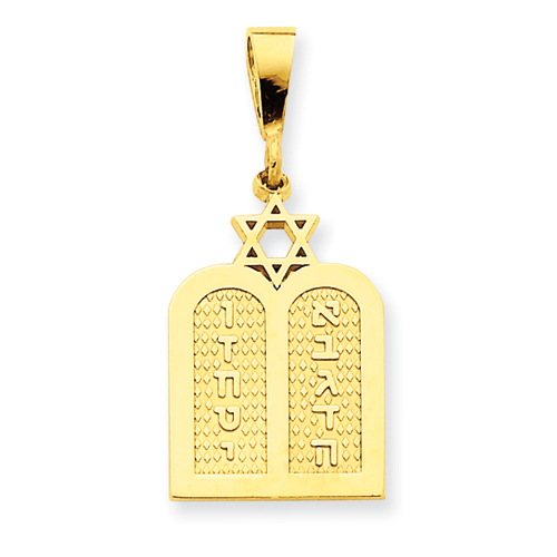 14k Polished 3/4in Torah with Star of David Charm
