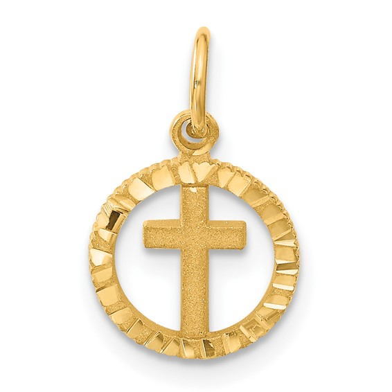 14k Yellow Gold Eternal Life Cross Charm 7/16in