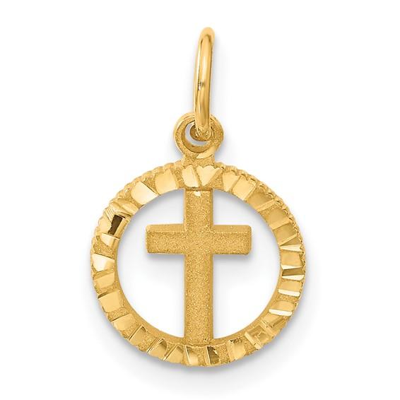 14kt 7/16in Eternal Life Cross Charm