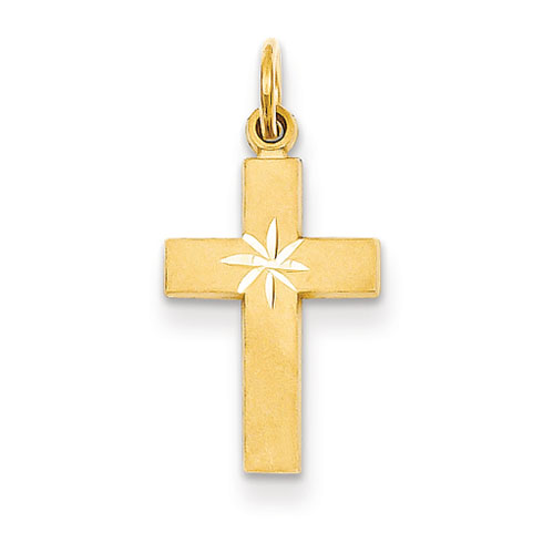 14kt Gold Small 11/16in Diamond-cut Cross Pendant