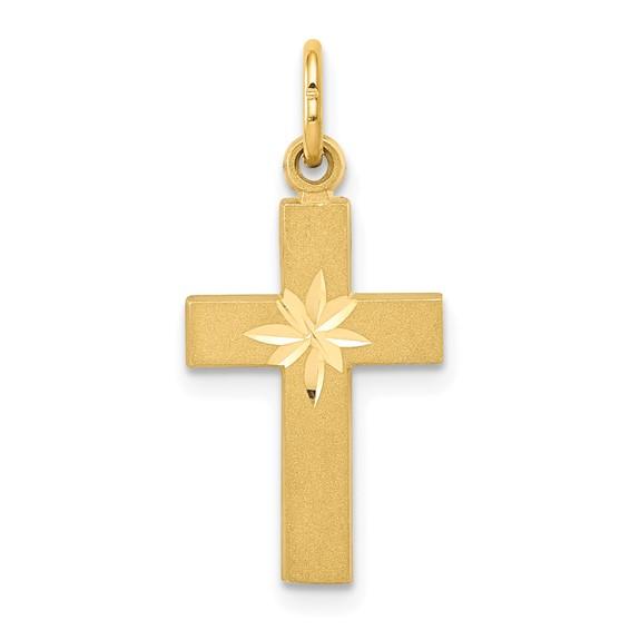 14kt Gold Small 11/16in Diamond-cut Cross Pendant