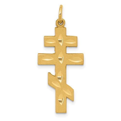 14kt Yellow Gold 1in Eastern Orthodox Cross