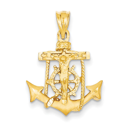14kt Yellow Gold 3/4in Mariners Cross Pendant