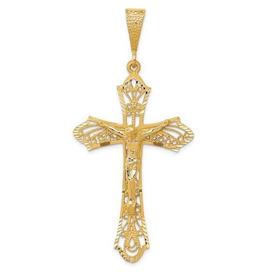 14kt Yellow Gold 1 15/16in Satin & Diamond-Cut Crucifix