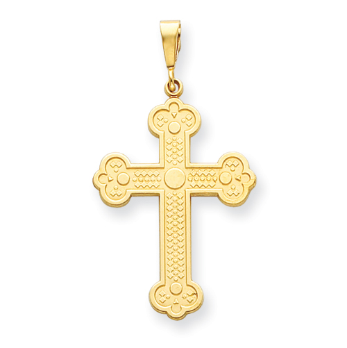 14k Yellow Gold 1 3/8in Budded Cross Pendant