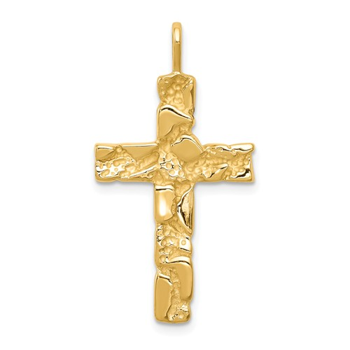 14k Yellow Gold Nugget Cross Pendant 1in