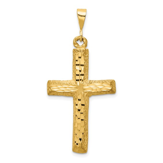 14k Yellow Gold 1 1/4in Diamond-cut Cross Pendant