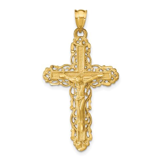 14kt Yellow Gold 1 1/4in Diamond-cut Satin Crucifix