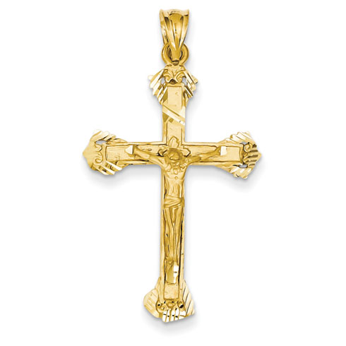 14kt Yellow Gold 1 1/4in Budded Crucifix