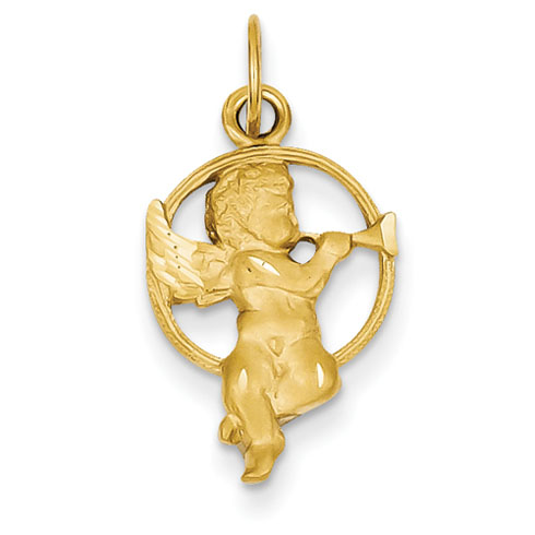 14kt 5/8in Satin Angel with Trumpet Charm