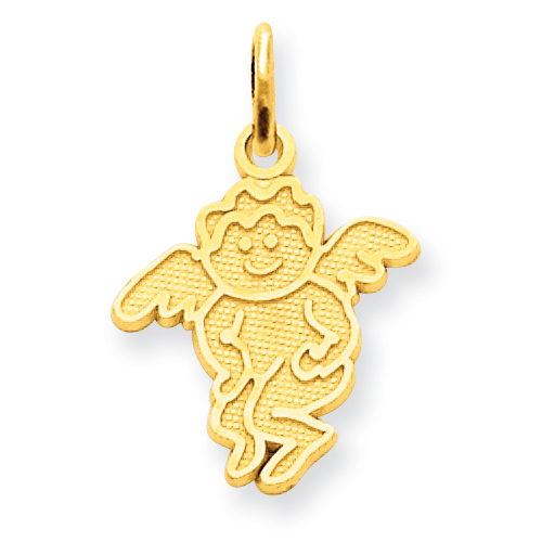 14k Yellow Gold 1/2in Angel Charm