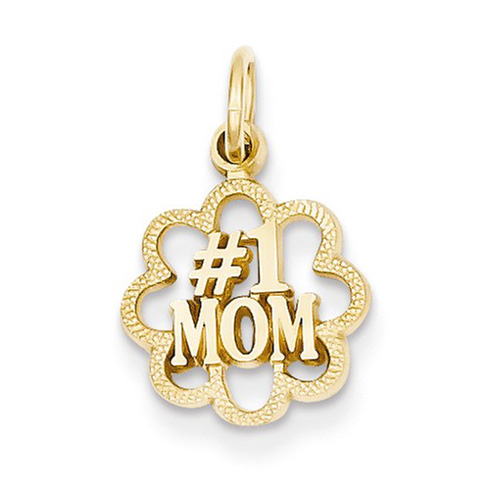 14kt Yellow Gold 3/8in #1 Mom Charm with Fancy Border