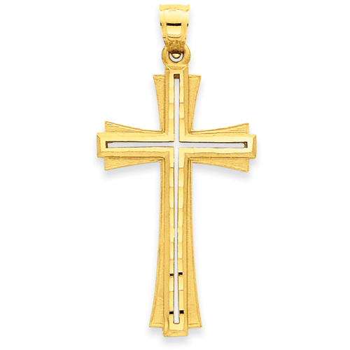 14kt Yellow Gold 1 1/2in Diamond-Cut Satin Crusader Cross
