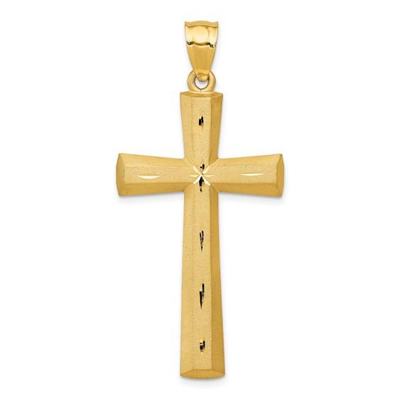 14kt 1 1/2in Satin & Diamond -cut Cross Pendant