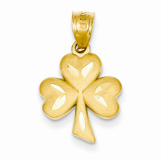 14kt Yellow Gold 5/8in Shamrock Pendant