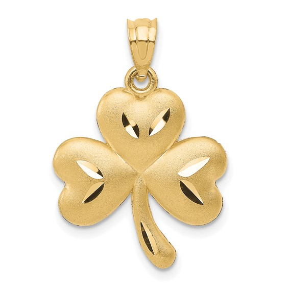 14kt Yellow Gold 3/4in Shamrock Pendant