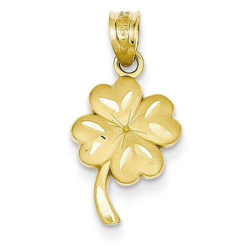 14kt Yellow Gold 5/8in Four Leaf Clover Charm