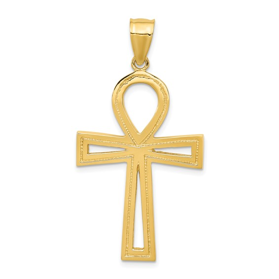 14k Yellow Gold 1 3/8in Ankh Cross Pendant