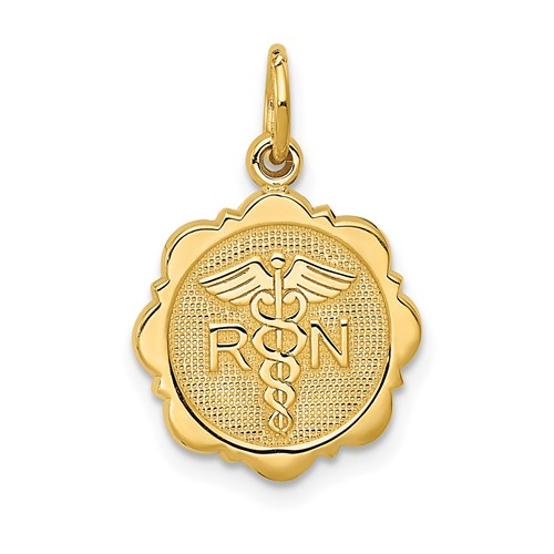 14kt Yellow Gold 1/2in Registered Nurse Disc Charm