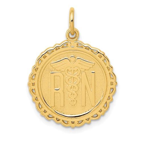 14kt Yellow Gold 3/4in Registered Nurse Fancy Charm
