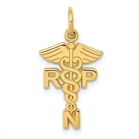 14kt Yellow Gold 3/4in Registered Nurse Practitioner  Charm
