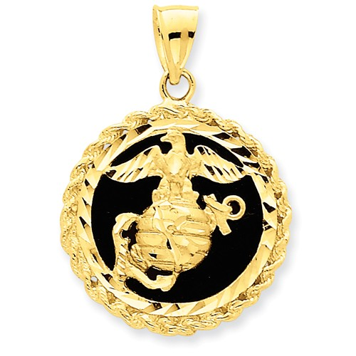 14kt Yellow Gold 1in Eagle Globe and Anchor Onyx Pendant