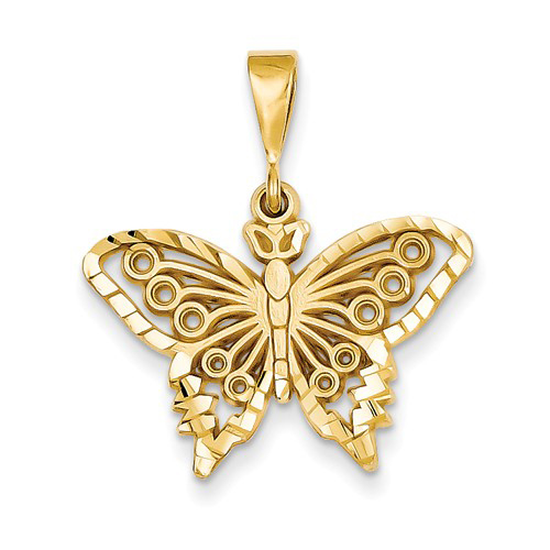 14kt Yellow Gold 3/4in Diamond-cut Butterfly Pendant
