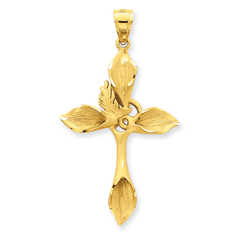 14k Yellow Gold 1 1/2in Passion Cross Pendant with Satin Finish