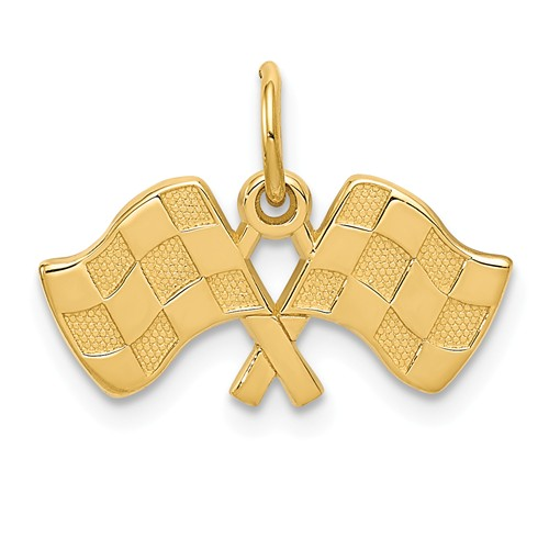 14k Yellow Gold Racing Flags Charm