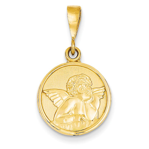 14k Yellow Gold Round Raphael Angel Pendant 5/8in