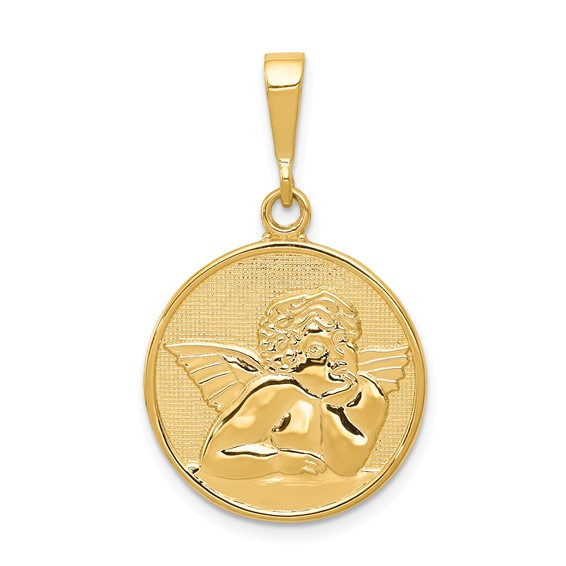 14kt 3/4in Polished & Satin Angel Pendant