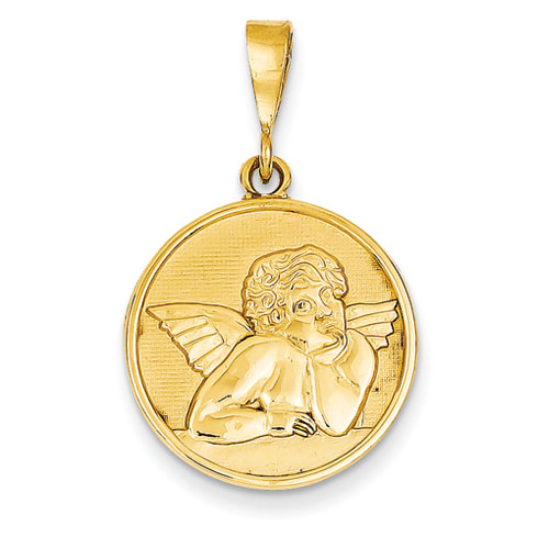 14k Yellow Gold 3/4in Polished & Satin Round Angel Pendant