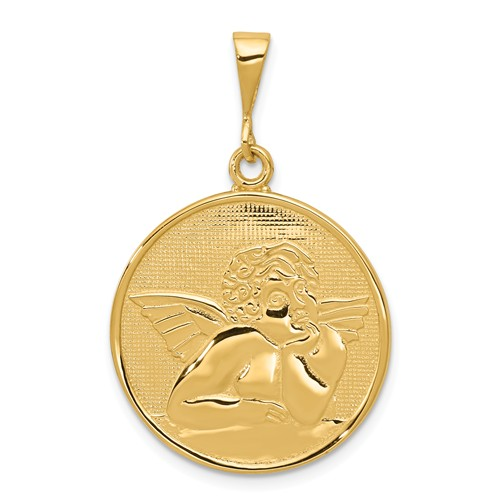 14kt Yellow Gold 7/8in Round Polished & Satin Angel Pendant