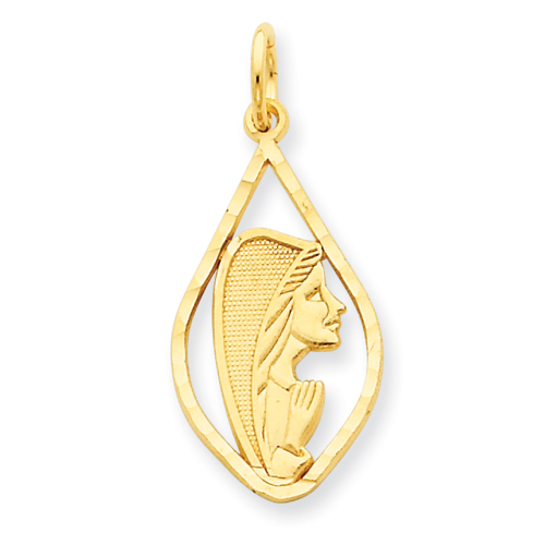 14k Yellow Gold 7/8in Blessed Mary Charm