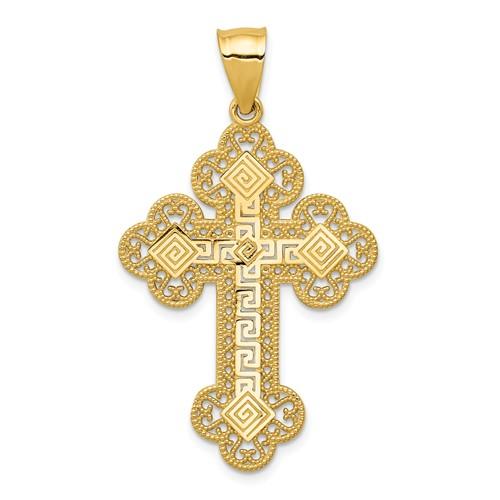 14kt Yellow Gold 1 1/4in Budded Greek Key Cross
