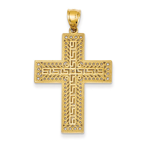 14kt Yellow Gold 1 1/2in Greek Key Filigree Cross