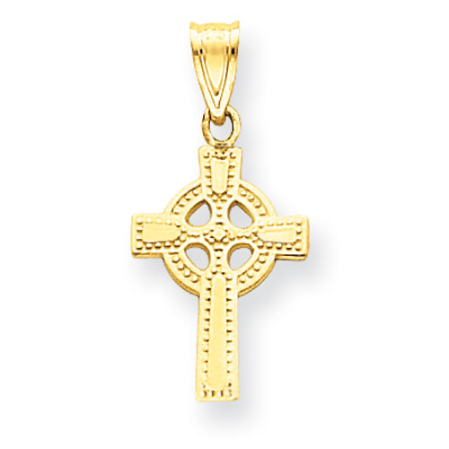 14kt Yellow Gold 1/2in Celtic Cross Charm