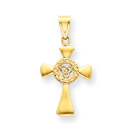 14kt Yellow Gold 7/8in Tapered Open Celtic Cross
