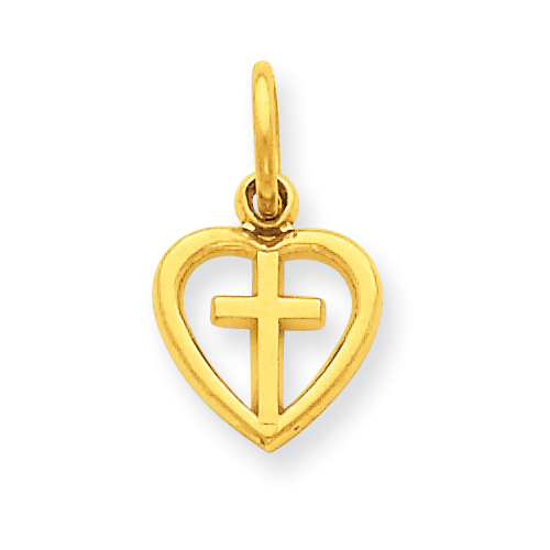 14kt Yellow Gold 3/8in Cross in Heart Charm