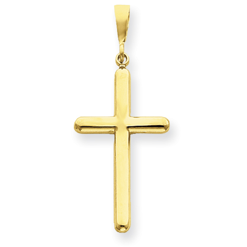 14kt Yellow Gold 1 5/8in Rounded Smooth Cross