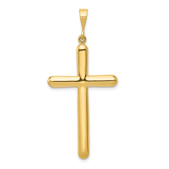 14k Yellow Gold Rounded Latin Cross Pendant 1 1/2in