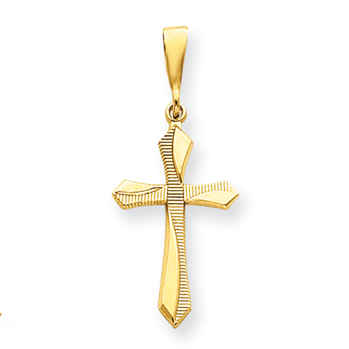 14kt Yellow Gold 1in Textured Passion Cross