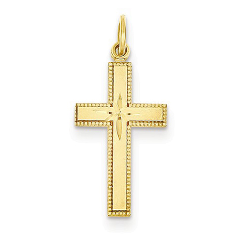 14kt Yellow Gold 3/4in Beaded Latin Cross Pendant