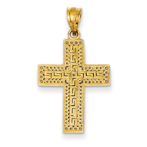 14kt 15/16in Greek Filigree Cross Pendant