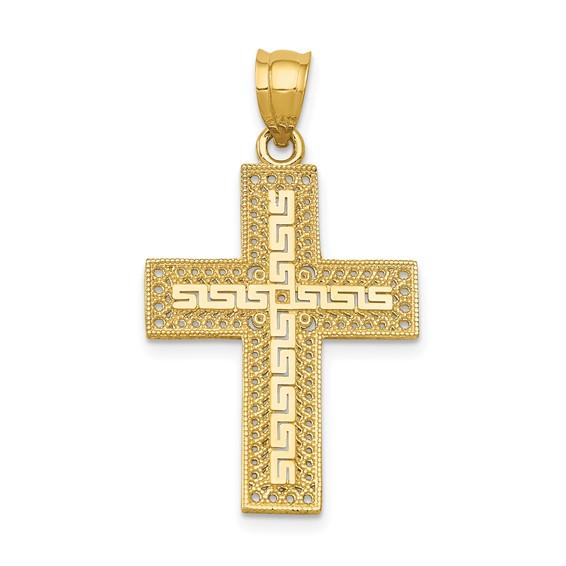 14kt 15/16in Greek Filigree Cross Pendant