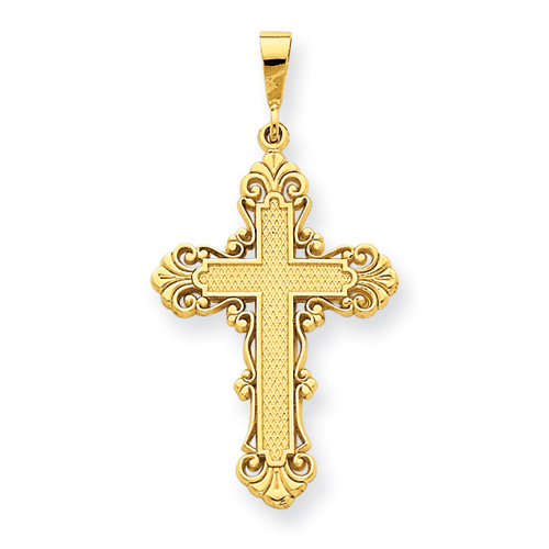 14kt Yellow Gold 1 3/8in Fleur de lis Cross