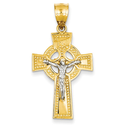 14kt Two-tone Gold 1 1/8in INRI Celtic Crucifix Pendant